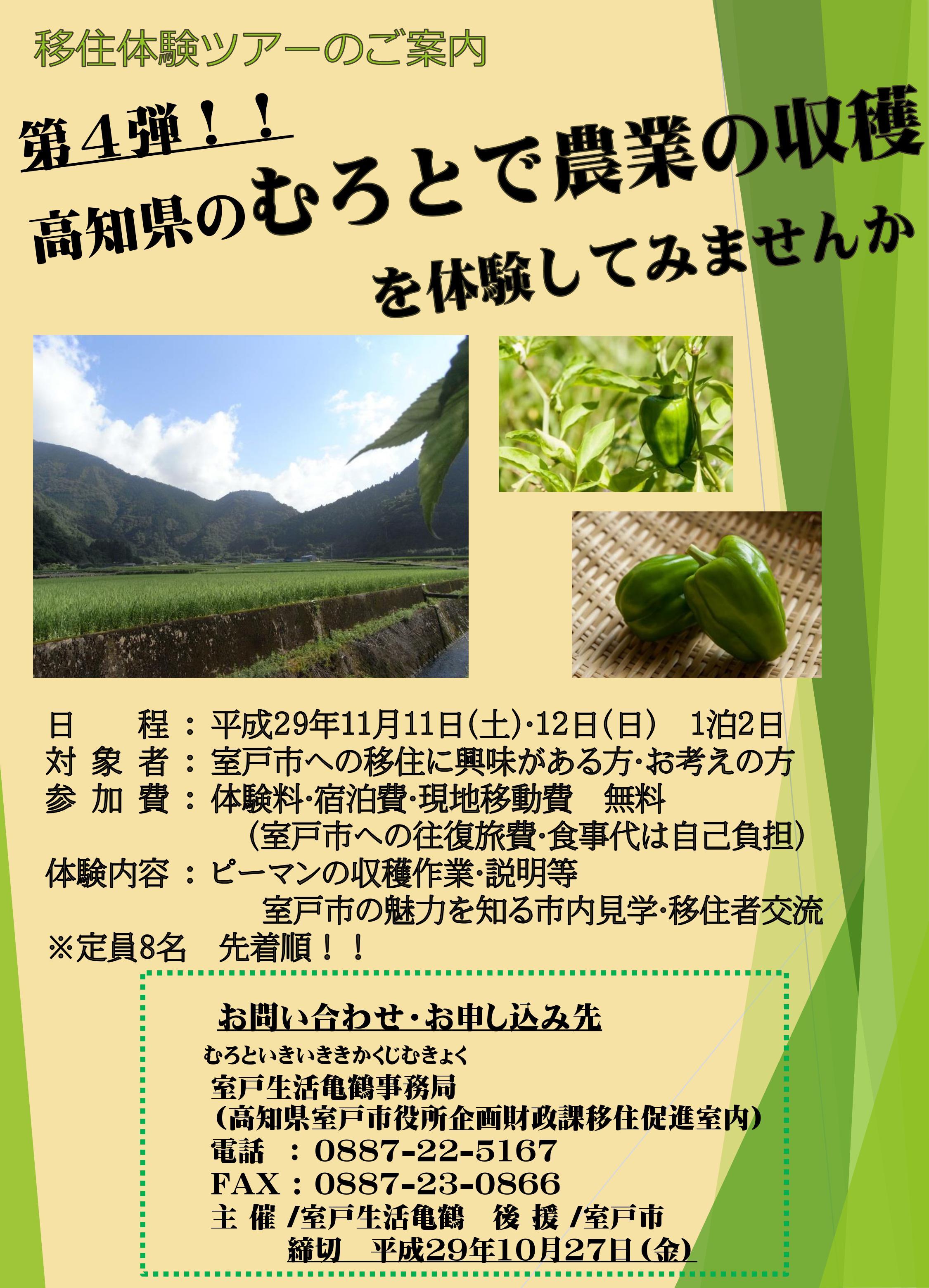 農業体験ツアー表
